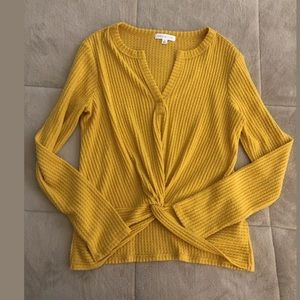 Socialite Waffle Knit Top Small Yellow